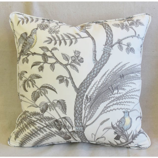 """Abstract Brunschwig & Fils Bird and Thistle Feather/Down Pillows 21"""" Square - Pair For Sale - Image 3 of 13"""