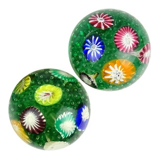 Fratelli Toso Murano Vintage Rainbow Wild Flower Garden Italian Art Glass Paperweights - a Pair For Sale