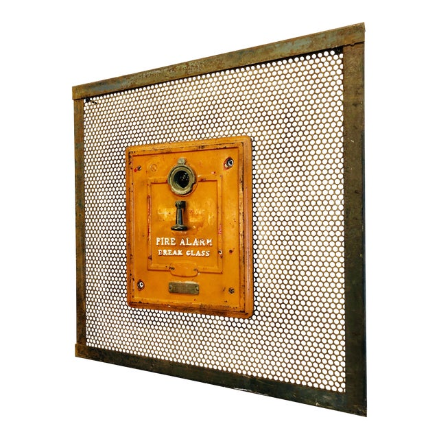 Vintage Industrial Art Metal Wall Panel With Fire Department Alert Alarm Call Box For Sale