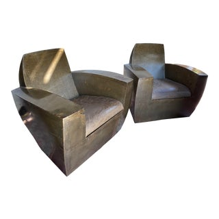 Contemporary Industrial 1930s Style Club Chairs - a Pair For Sale