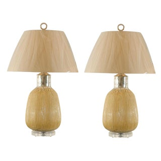 Stunning Pair of Vintage Blown Mercury Glass Lamps with Cream Enamel Highlights For Sale