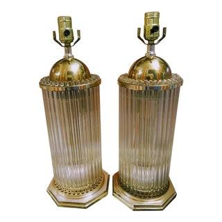 Gaetano Sciolari Hollywood Regency Glass Brass Rod Table Lamps - A Pair