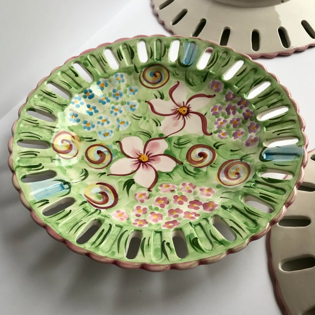 Vintage Vestal Alcobaca Majolica Hand Painted Pink & Green Plates - Set of 4 For Sale In Chicago - Image 6 of 9
