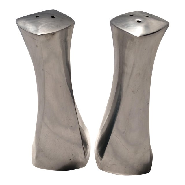 Mid-Century Pair of Early 1960's Rare Metal Lenox S & P Shakers For Sale