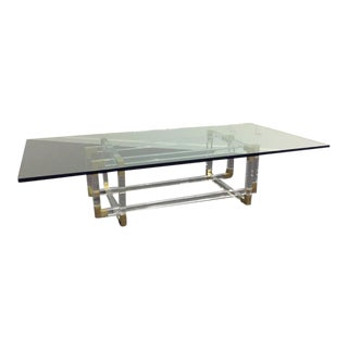 "Acrylic and Brass ""Metric Line"" Cocktail Table by Charles Hollis Jones For Sale"