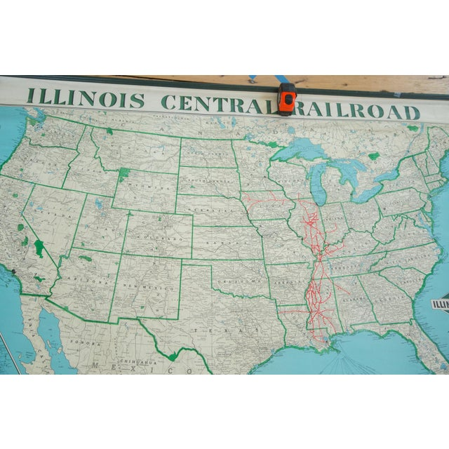 1950s Vintage Illinois Central Railroad Pull Down Map For Sale - Image 5 of 12