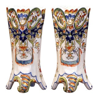 Pair of 19th Century French Hand Painted Faience Trumpet Vases From Normandy For Sale