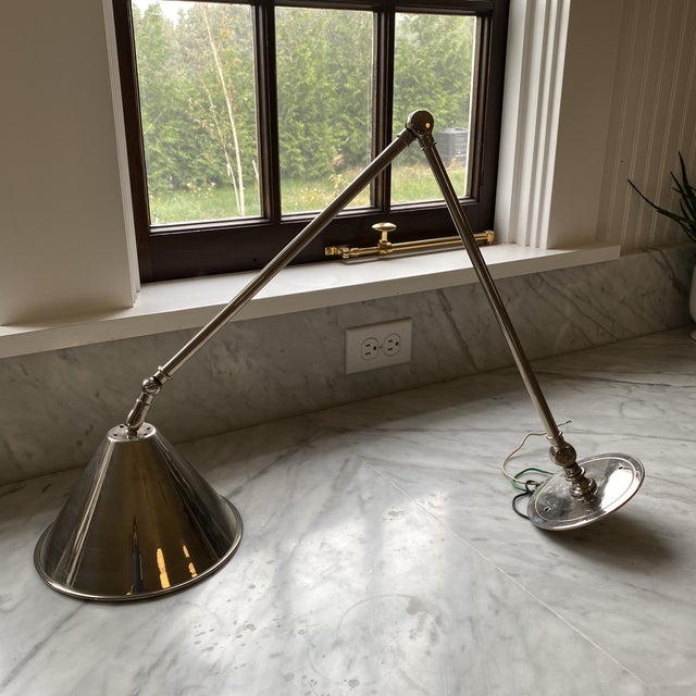 Urban Archaeology - Articulated Library Light/Sconce in Satin Nickel For Sale - Image 9 of 9