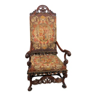 Early 20th Century Renaissance Style Throne Chair For Sale