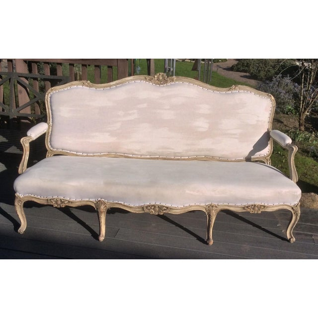 Worn Painted Finish Antique French Settee For Sale - Image 10 of 11