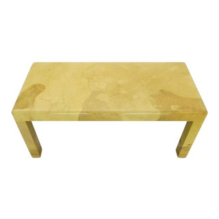 Fine Mid-Century Modern Goat Skin Parchment Coffee Table in Brass For Sale