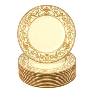 Set of 12 Royal Worcester Cream & Multicolored Enamel & Gold Dinner Plates For Sale