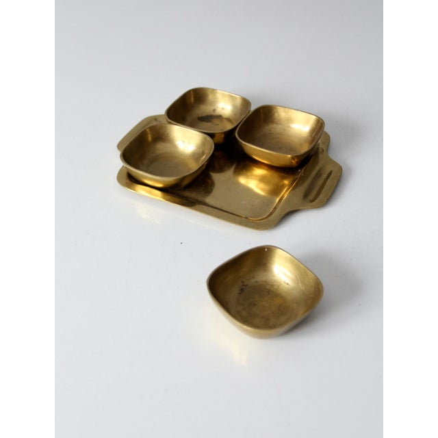 Vintage Brass Tray With Dividing Bowls - Set of 5 For Sale - Image 9 of 10
