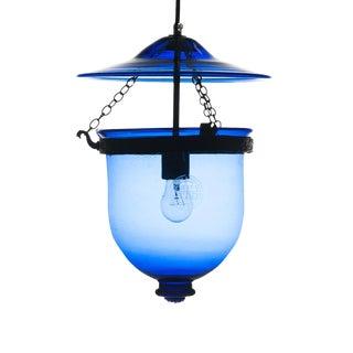 Val Saint Lambert Cobalt Blue Belgian Hundi Crystal Lantern Pendant For Sale