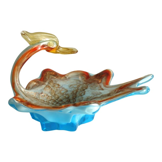 Mid-Century Modern Murano Duck Catchall Decorative Dish For Sale