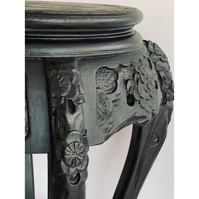 Asian Vintage Chinese Carved Wood Planter Jardiniere Holder Stand Pedestal Side Table For Sale - Image 3 of 12