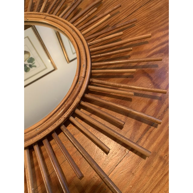 Mid 20th Century Vintage Rattan Sunburst Mirror For Sale - Image 5 of 7