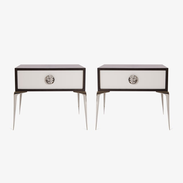 Colette Nickel Nightstands in Ebony & Ivory by Montage, Pair - Image 2 of 9