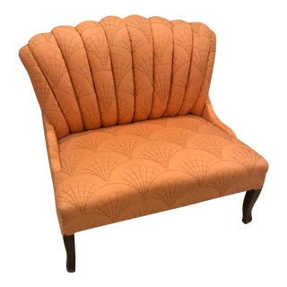 Art Deco Love Seat with Seashell Motif For Sale
