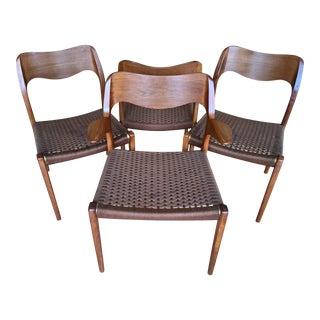 Mid-Century Modern Arne Hovmand Olsen Teak Chairs - Set of 4 For Sale