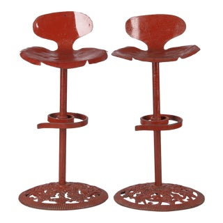 Mid 20th Century Mid Century French Artisanal Red Iron Bar Stools - a Pair For Sale