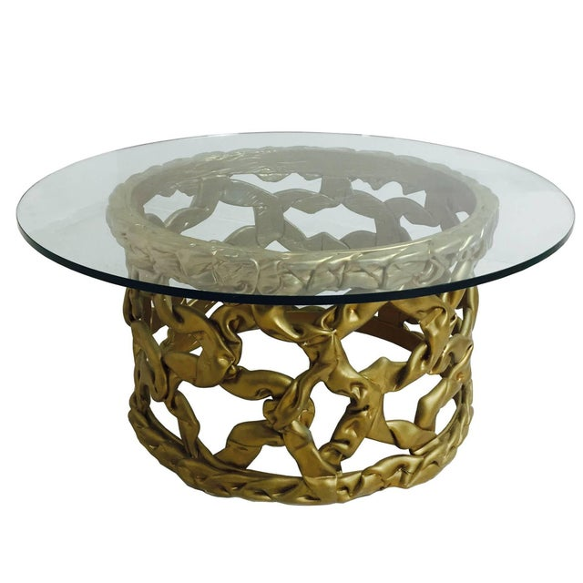"Gold ""Ribbon"" Coffee Table in the Style of Tony Duquette For Sale In Dallas - Image 6 of 6"