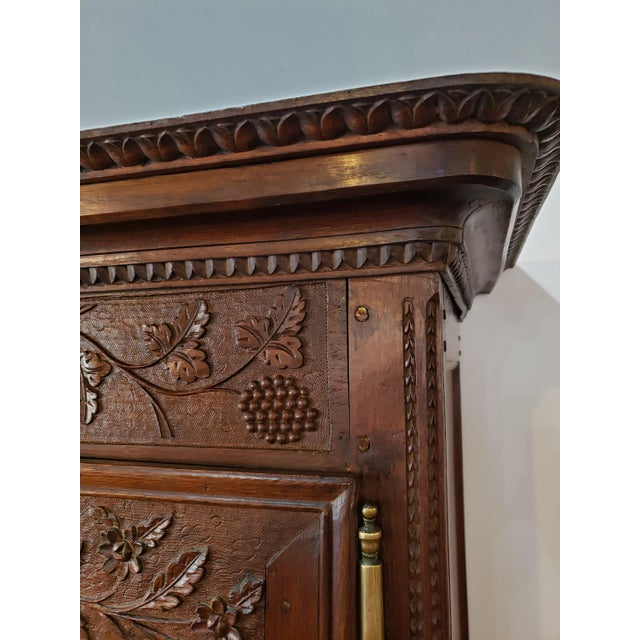Brown French Provencal Carved Walnut Armoire For Sale - Image 8 of 13
