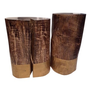 Wood Stump Stool Set- a Pair For Sale