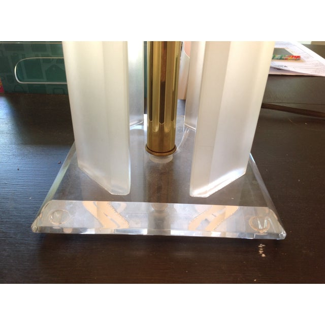 Vintage Lucite Lamp with Brass Shade For Sale - Image 5 of 5