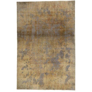 Vintage Turkish Industrial Luxe Style Distressed Wool Rug - 7′5″ × 11′3″ For Sale