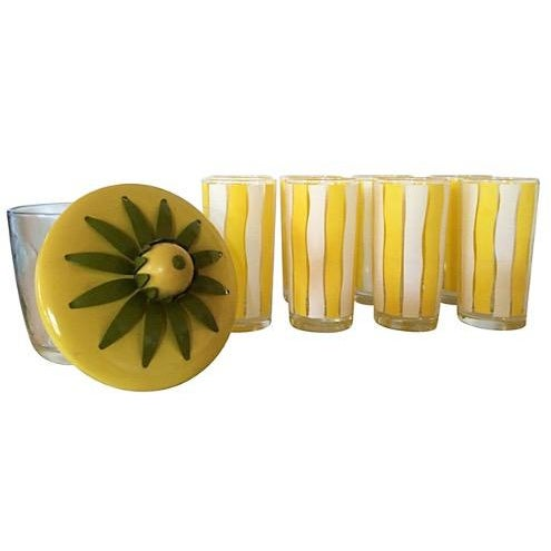 Yellow & White Beverage Serving Set For Sale - Image 4 of 6