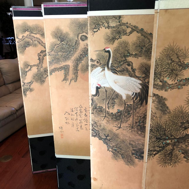 Early 1900's Antique Japanese 10-Panel Painted Screen For Sale - Image 4 of 13