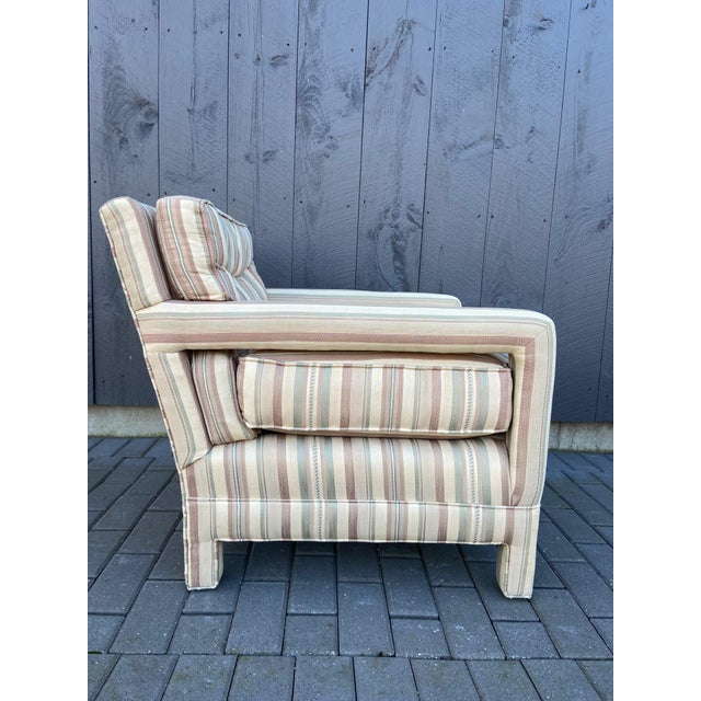 Great looking super plush and comfy parsons chair in the style of Milo Baughman. This chair has been reupholstered so all...