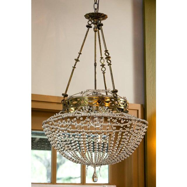 Metal Vintage Glass Beaded Basket Chandelier For Sale - Image 7 of 8