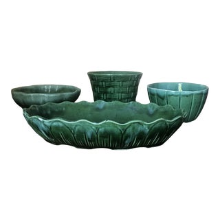 Vintage Mid Century California Green Glazed Pottery Planters Bowls- Set of 4 For Sale