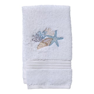 Blue Shell Collection Guest Towel White Terry, Embroidered For Sale