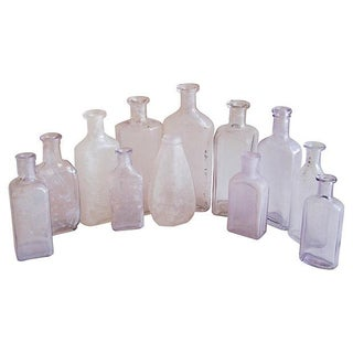 Lavender & Clear Antique Bottles - Set of 12