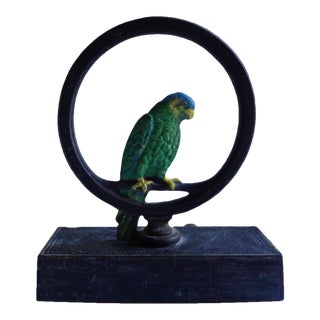 Antique Bradley Hubbard Solid Cast IronGreen Parakeet Bird Doorstop For Sale