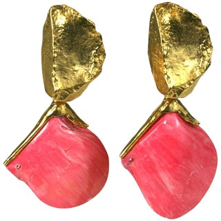 Yves Saint Laurent Sea Shell Earclips For Sale