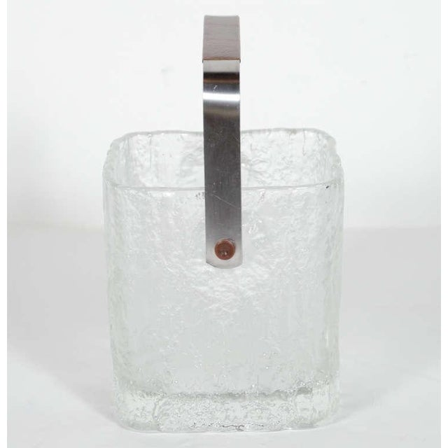 1960s Vintage Ice Bucket With Textured Ice Cube Glass Design For Sale - Image 5 of 11