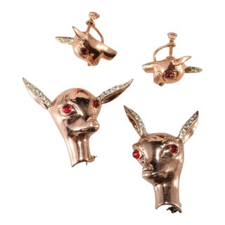 Bates and Bacon Deer Head Family Brooch Pin Earrings Set Sterling Silver For Sale
