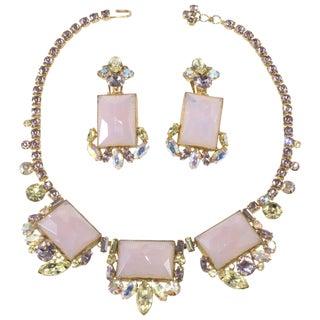Ballet 1950s Vintage Necklace Earrings Set Purple Yellow Rhinestones Glass Panels For Sale