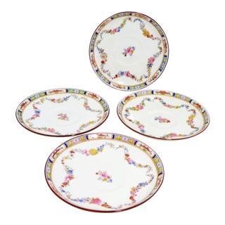Antique Minton Porcelain Rose & Flower Garland Saucers - Set of 4 For Sale