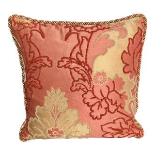Coral and Gold Beaded Floral Silk Pillow With Feather Filling by Dransfield and Ross For Sale