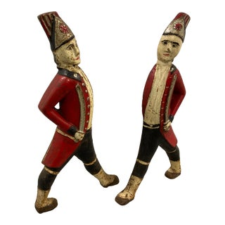 Antique Hessian Red Coat Soldier Andirons - Original Paint - a Pair For Sale