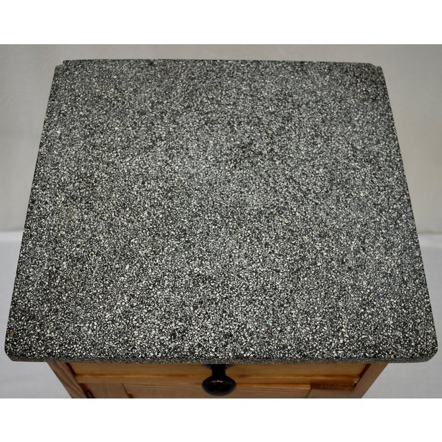 Pine Marble Top Nightstand For Sale - Image 12 of 13