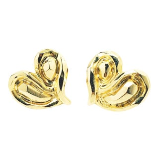 Modernist Haute Couture Heart Earrings. For Sale
