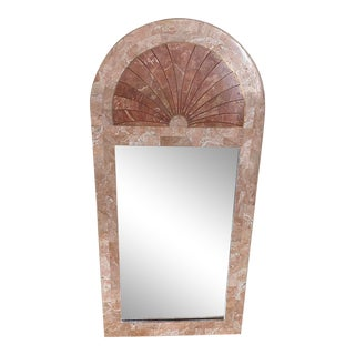 Late 20th Century Arched Tessellated Stone and Brass Inlay Wall Mirror For Sale
