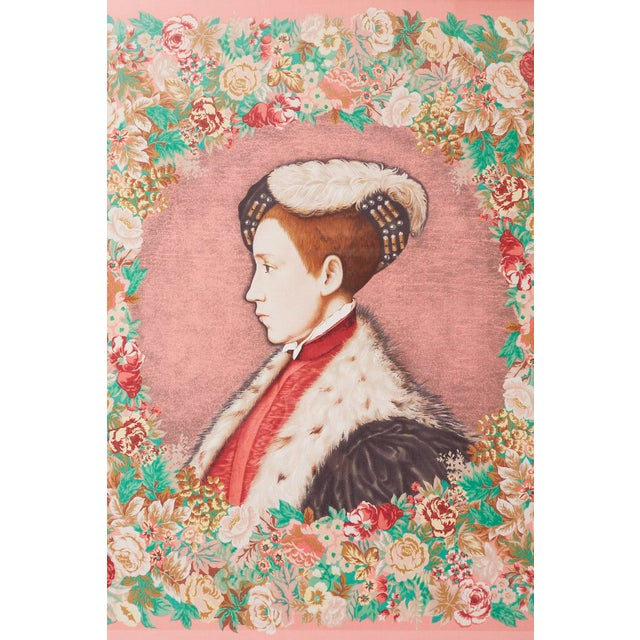 Figurative Framed Kenzo Takada Silk Mille-Fleur Painted Scarf For Sale - Image 3 of 13