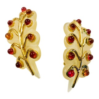 1980s Isabel Canovas Lucite Gripoix Leaf Earrings For Sale